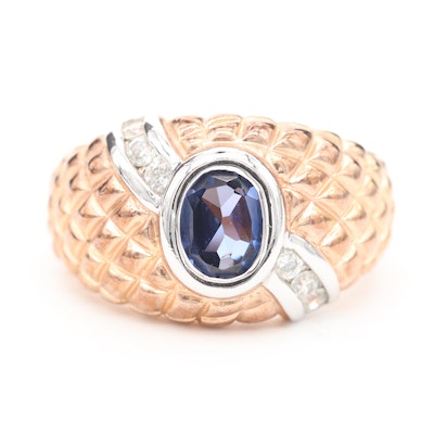 Sterling Silver Blue Sapphire and Cubic Zirconia Ring