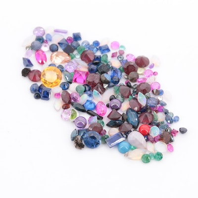 Loose Mix of 25.63 CTW Synthetic and Natural Colored Gemstones