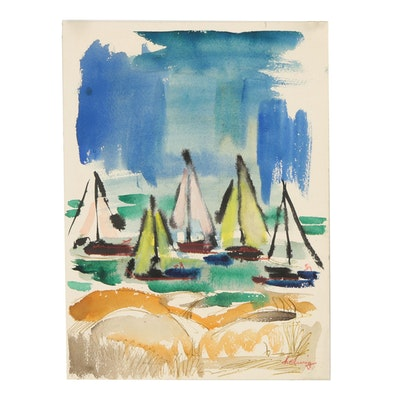 Arthur Helwig Watercolor Painting of Abstract Nautical Scene