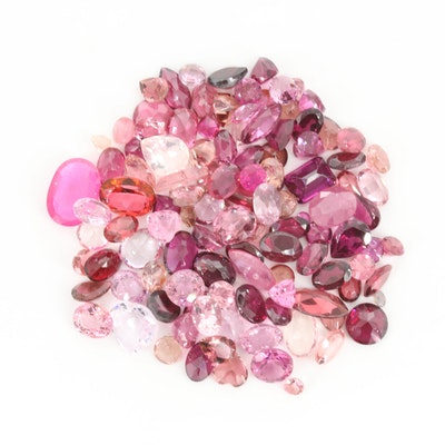 Loose 63.26 CTW Pink Gemstone Selection Including Tourmaline and Topaz