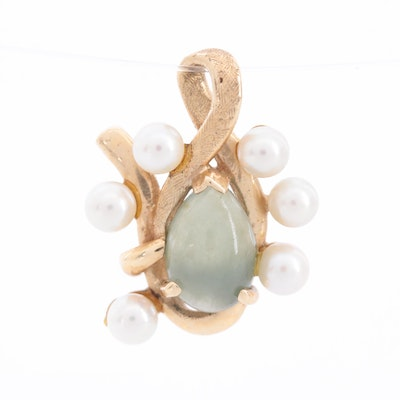 14K Yellow Gold Cultured Pearl and Jadeite Pendant