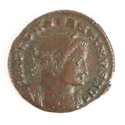 Ancient Roman Constantine I AE Follis Coin, Circa 207-337 AD