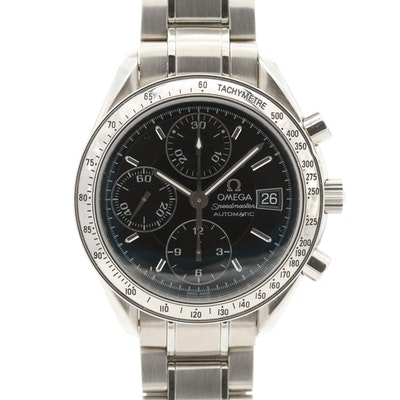 Omega Speedmaster Date Automatic Stainless Steel Chronograph Wristwatch