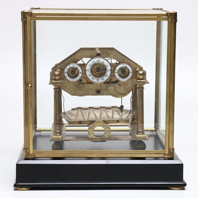 English Traditional Congreve Model Rolling Ball Clock with Key and Case