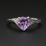 10K White Gold Amethyst and Diamond Heart Ring