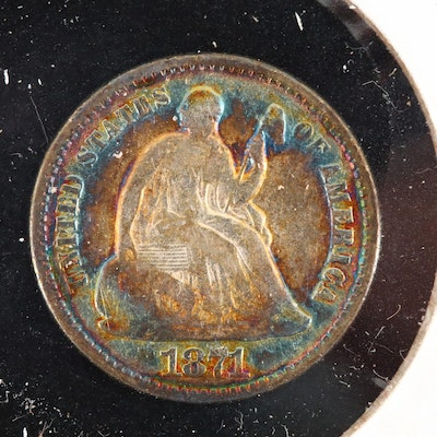 An 1871 Liberty Seated Silver Half Dime