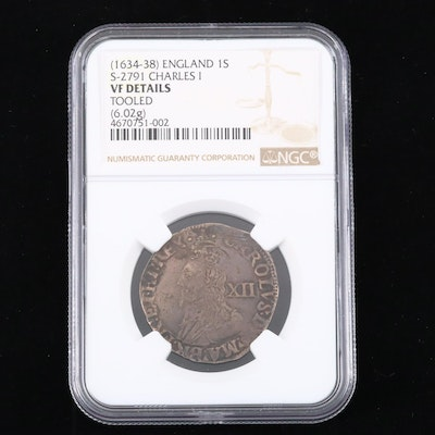 NGC Graded VF Details ca. 1634 King Charles I English Hammered Shilling