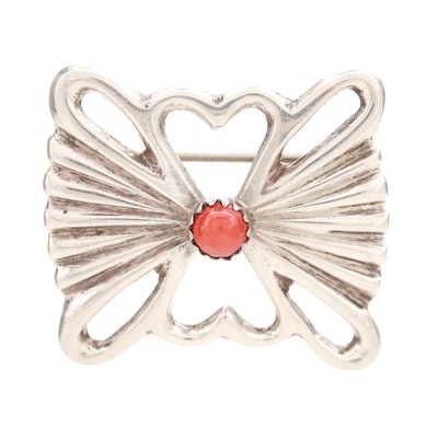 Sterling Silver Coral Sand Cast Brooch
