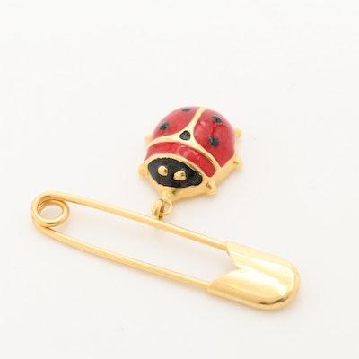 18K Yellow Gold Enamel Ladybug Safety Pin Brooch