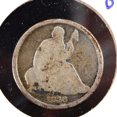 Key Date 1838-O Liberty Seated No Stars on Obverse Variety Silver Dime