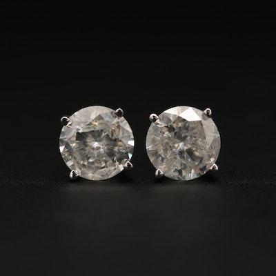 14K White Gold 1.67 CTW Diamond Stud Earrings