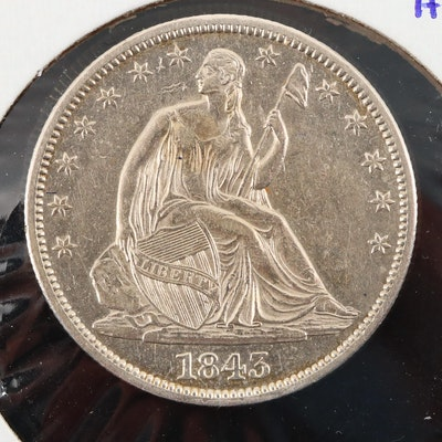 An 1843 Liberty Seated Silver Half Dollar