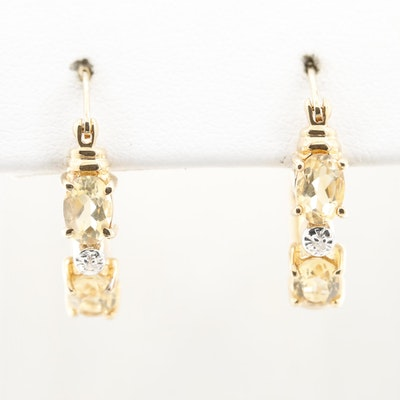 10K Yellow Gold Citrine and Diamond Hoop Earrings