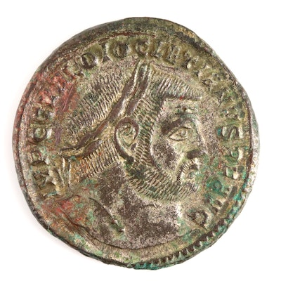 Ancient Roman Imperial Silvered Follis Coin of Diocletian, ca. 296 A.D.