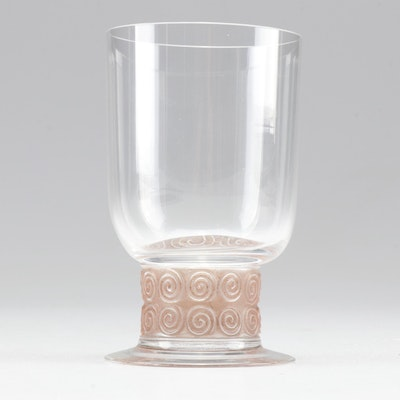 """Rene Lalique """"Chinon"""" Frosted Stem Crystal Wine Glass"""