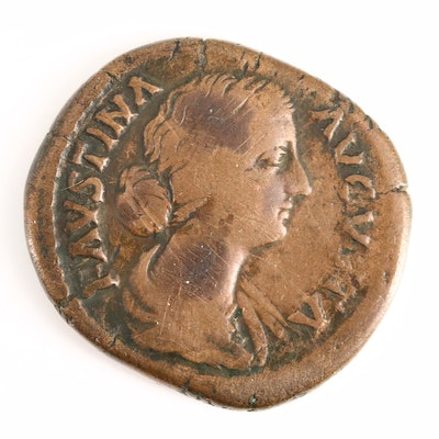 Ancient Roman Imperial Sestertius of Faustina the Younger, ca. 165 A.D.
