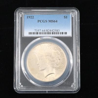 PCGS Graded MS64 1922 Peace Silver Dollar