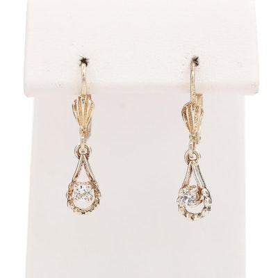 Sterling Silver White Topaz Drop Earrings