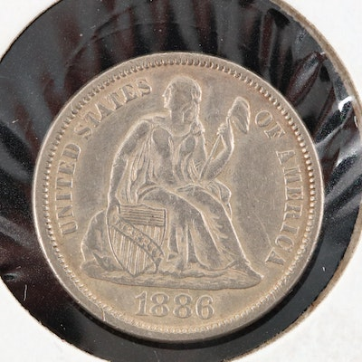 An 1886 Liberty Seated Silver Dime