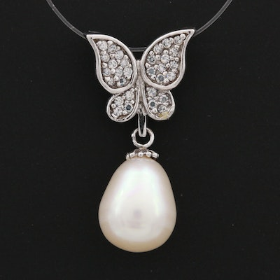 Sterling Silver Cubic Zirconia and Cultured Pearl Butterfly Sliding Pendant