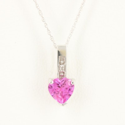 10K White Gold Synthetic Pink Sapphire and Diamond Heart Pendant Necklace