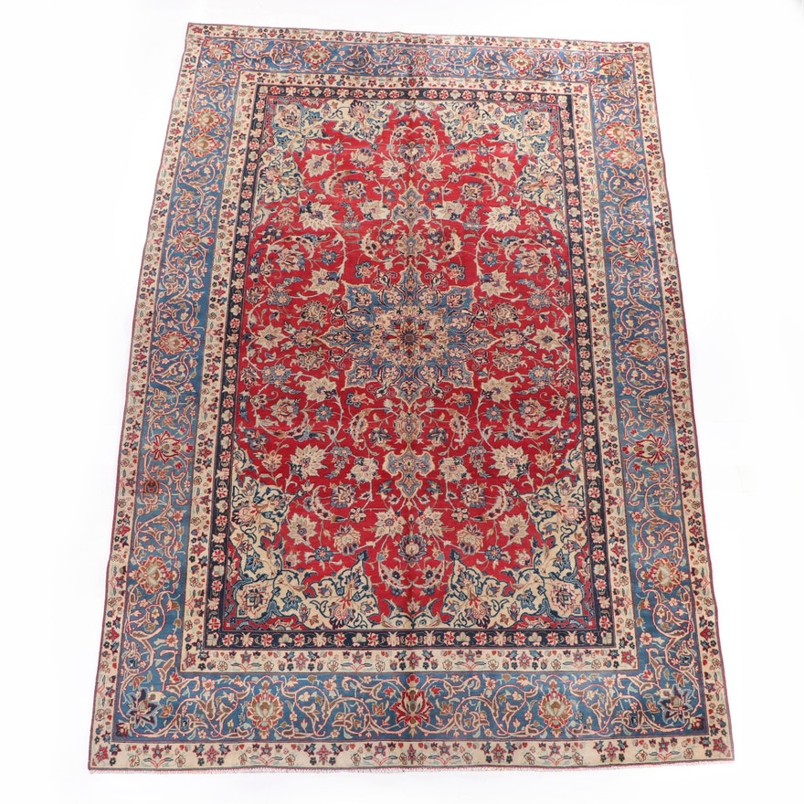 Hand-Knotted Isfahan Wool Room-Sized Rug