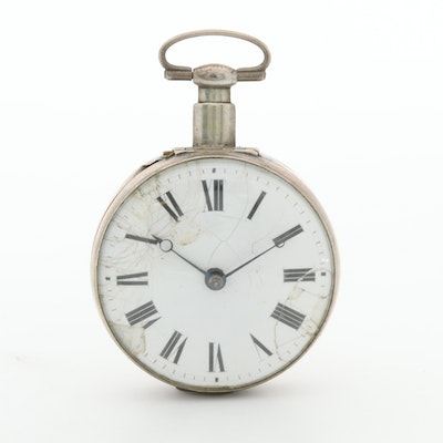 Antique Sterling Silver English Pocket Watch