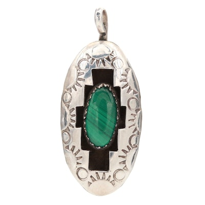 Sterling Silver Malachite Stamped Shadow Box Pendant