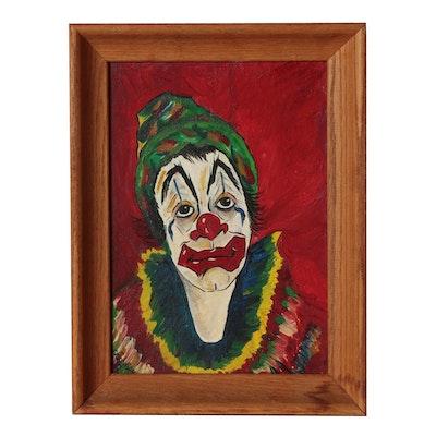 Charles Johnson 1967 Oil Portrait of Clown