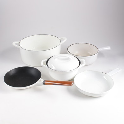 White Enamelled Cast Iron Cookware