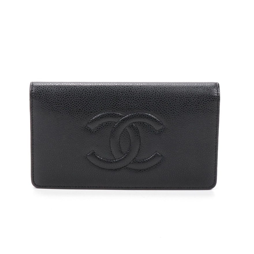 Chanel CC Black Caviar Leather Bifold Wallet