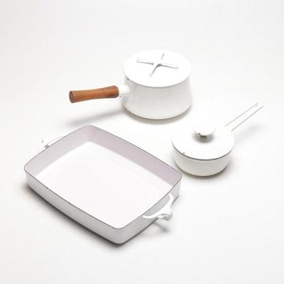 Dansk Kobenstyle White Enameled Cookware, Mid-Century