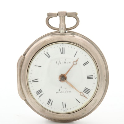 Antique Graham Of London Verge Fusee In 800 Silver Paired Case