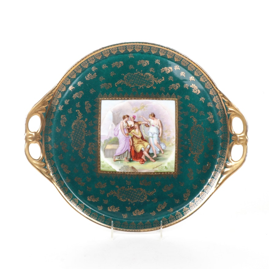 Royal Vienna Style Porcelain Tray with Image Signed Kaufmann