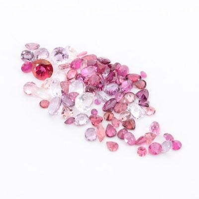 Loose 49.22 CTW Pink Gemstones Including Rose Quartz, Morganite and Ruby