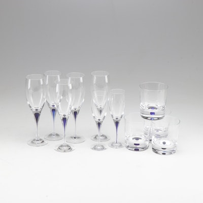 "Orrefors ""Intermezzo Blue"" Crystal Stemware and Tumblers"