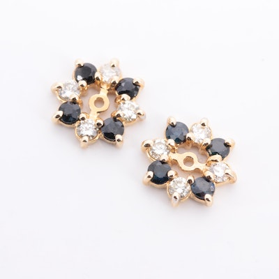 14K Yellow Gold Diamond and Sapphire Earring Jackets