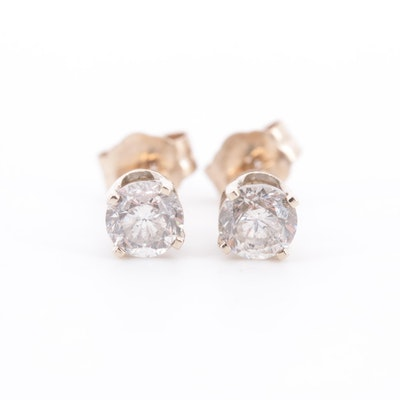 14K White and Yellow Gold Diamond Stud Earrings