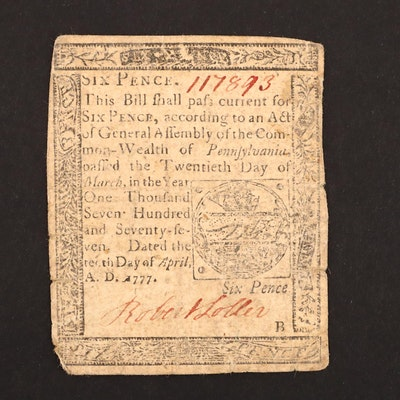 A Colonial America 6 Pence Continental Currency Banknote from 1777