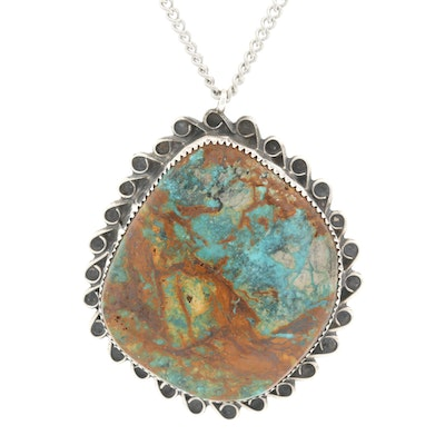 Southwestern Style Sterling Silver Turquoise Pendant on Chain