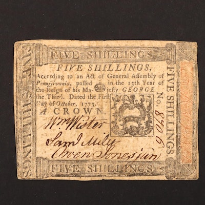 A Colonial America 5 Shillings Continental Currency Banknote from 1773