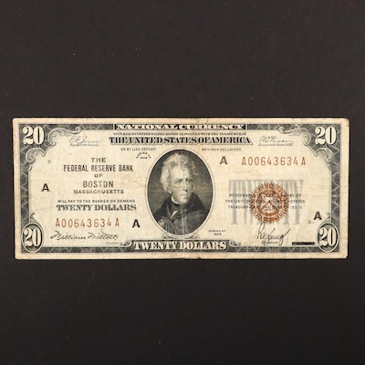 A Series of 1929 $20 Brown Seal National Currency Note