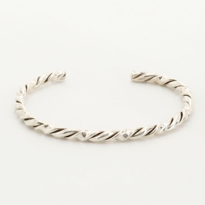 Sterling Silver Forged Twist Bangle