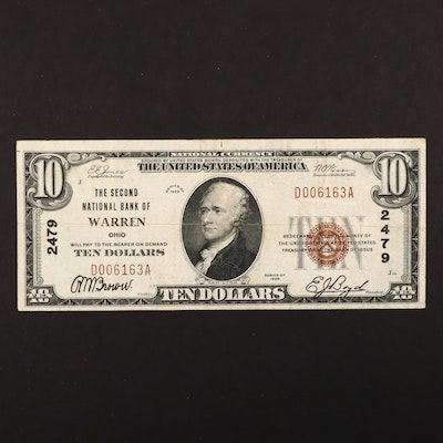 Series of 1929 $10 Brown Seal National Currency Note, Type 1 Variety