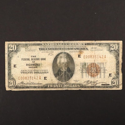 Series of 1929 $20 Brown Seal National Currency Note