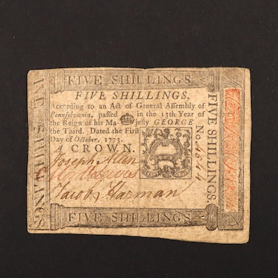Colonial America 5 Shillings Continental Currency Banknote from 1773