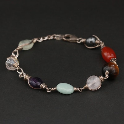 Sterling Silver Assorted Gemstone Bracelet Including Tiger's Eye and Carnelian