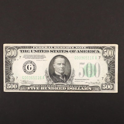 Series of 1934-A U.S. $500 Federal Reserve Note