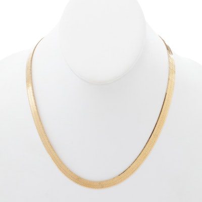 Gold Wash on Sterling Silver Herringbone Link Chain Necklace