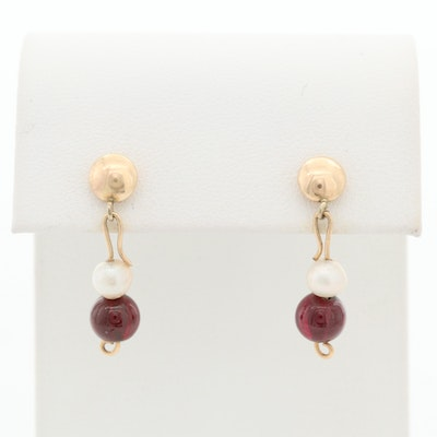 Vintage 14K Yellow Gold Garnet and Cultured Pearl Beaded Drop Earrings